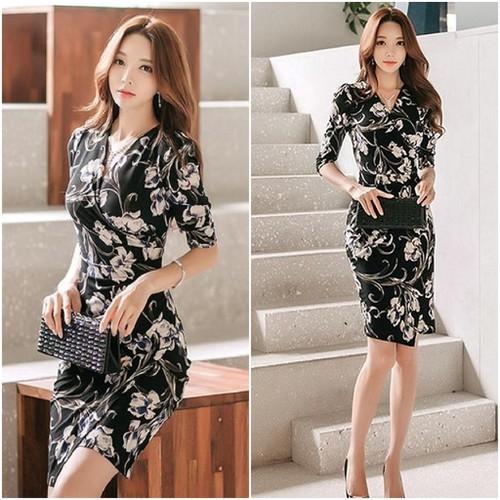 Đầm ôm họa tiết cách điệu misa fashion tôn dáng, sang trọng - ms360
