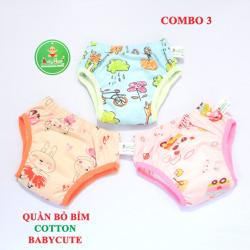 Combo 3 quần bỏ bỉm vải cotton BabyCute size 1, 2, 3 - đã có lót bên trong
