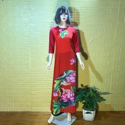 Áo dài Truyền Thống Lụa Nhật In 3D Hoa Sen