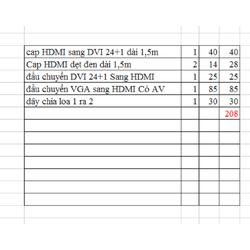 combo cáp HDMI sang DVI 24+1 + capsHDMI dẹt ,15m + đầu chuyển DVI 24+1 sang HDMI + chia loa 1 ra 2 + đầu chuyển VGa sang HDMI cóa av