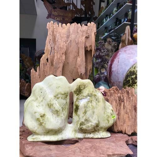 Hòn trống hòn mái đá serpentine ms: tm08 kt: c27cm x n37cm nặng khoảng 7-8kg