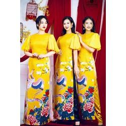 Áo dài nữ gấm vân  ép tay bồng  size S, M, L, thiết kế cao cấp