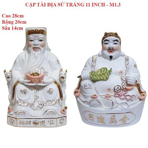 Cặp tượng thần tài ông địa sứ trắng 11 inch - m1.3