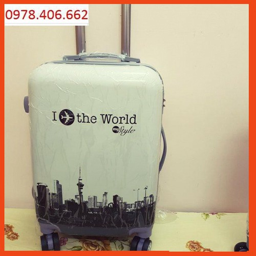 Size 20 vali họa tiết in the world ykm 688