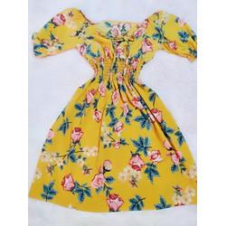 Đầm xòe vải lụa hoa size M, L, XL, 2XLbẹt vai 40-78kg eo thun thiết kế cao cấp