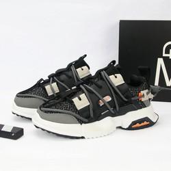 Giày sneaker nam cổ thấp đen đế trắng nhiều dây chất lượng cao G469 MuiDoi