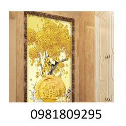 tranh gạch men 3d cây tiền vàng