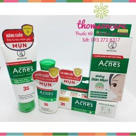 Combo trị mụn Acnes | Sữa rửa mặt - Dung dịch dịu da - Kem trị mụn - Miếng dán ngừa mụn Acnes - comboacnes