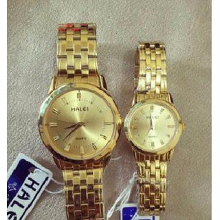 Đồng hồ đôi thời trang dây kim loại màu vàng sang trọng - Đồng hồ đôi Halei thumbnail