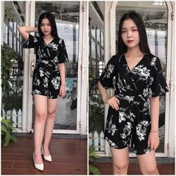 Jumpsuit Ngắn Misa Fashion Họa Tiết Hoa Lá Trẻ Trung, Giá Cực Tốt - MS358