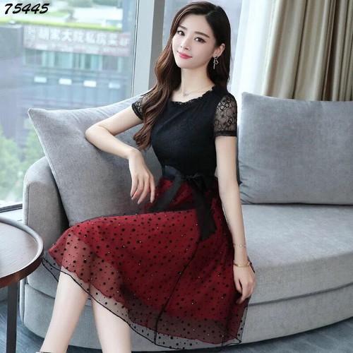 Đầm ren đen đỏ - đang hot