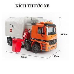 Mô hình xe chở rác xe thu gom rác đồ chơi ô tô chạy bánh đà có pin phát nhạc màu cam