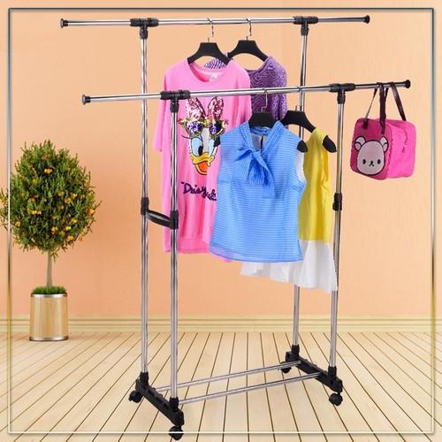Giá phơi quần áo 2 tầng - kệ treo đồ tiện lợi