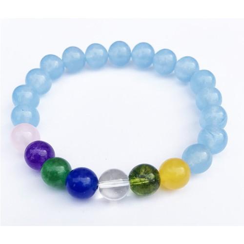Vòng tay nam nữ đá thạch anh xanh lam mix 7 màu đá thạch anh vòng tay cặp thời trang may mắn hợp mệnh thủy mệnh mộc vòng tay phong thủy giá rẻ vòng tay đá tự nhiên đẹp nhất