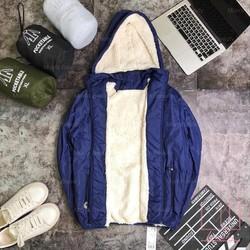 Áo khoác phao nam lót lông cừu màu xanh than