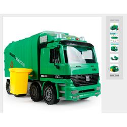 Mô hình xe chở rác xe thu gom rác chạy bánh đà có pin phát nhạc màu xanh
