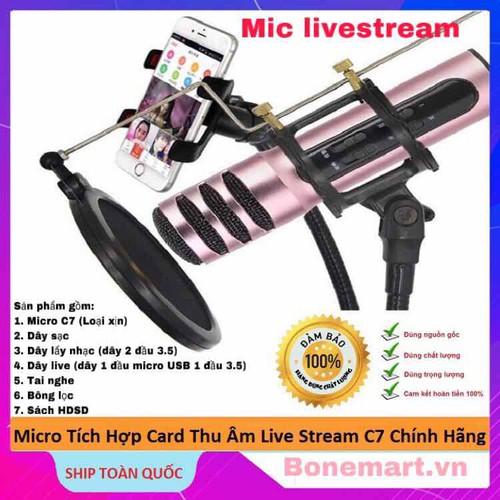 Micro karaoke livestream thu âm c7 âm thanh chuyên nghiệp tặng tai nghe