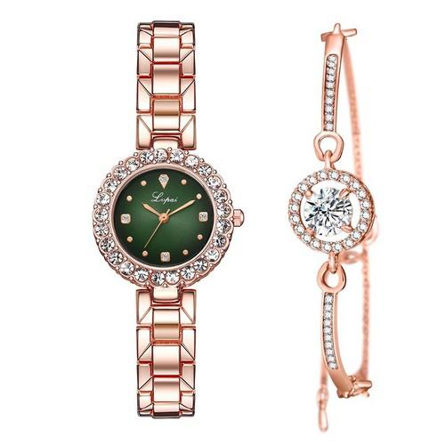 Đồng hồ nữ dây kim loại tặng vòng đính đá - lupai - chống nước bs bee sister đính đá toàn mặt m020 - [ company]