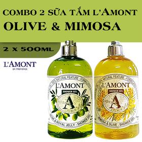 Combo 2 chai Sữa Tắm LAmont En Provence Hương Olive và Hương Hoa Mimosa 500ml-chai - OLIU+MIMOSA
