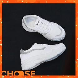 Giày Nữ Sneaker Độn Đế Màu Trắng Mẫu Mới Mùa Hè Phối Viền Phong Cách Mới G29K7