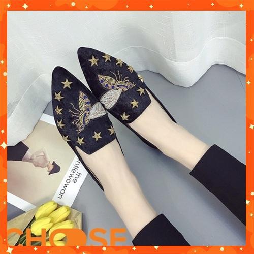 Giày nữ vải nhung đế bệt thêu họa tiết ong thích hợp văn phòng dạo phố mẫu mới hot