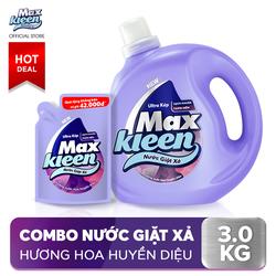 Nước giặt xả Maxkleen hương huyền diệu diệt sạch khuẩn thơm mềm tiện lợi tiết kiệm 2.4kg Chai + Túi 600g