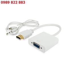 Dây Chuyển Đổi Tín Hiệu HDMI Ra VGA Có Tiếng - HDMI to VGA Audio - Chuyển cả hình ảnh, âm thanh từ máy tính, đầu kỹ thuật số sang màn hình, tivi, máy chiếu có cổng VGA