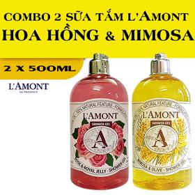 Combo 2 chai Sữa Tắm LAmont En Provence Hương Hoa Hồng và Hương Hoa Mimosa 500ml-chai - HOA HỒNG+MIMOSA