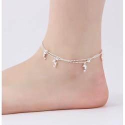 Lắc chân nữ bạc 925 dây đôi hình cá heo và bi xinh xắn sale giá rẻ