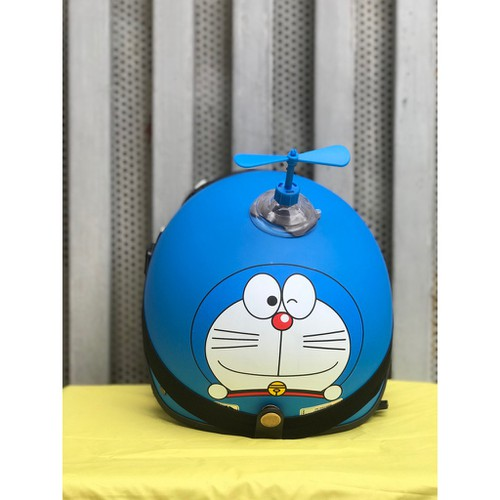 Combo mũ nón bảo hiểm nửa đầu 1 2 doremon xanh kính phi công chong chóng