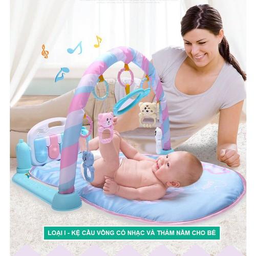 Mã toynov giảm 10 tối đa 15k đơn từ 50k kệ cầu vồng có nhạc và thảm nằm cho bé kệ cầu vồng full đồ cho bé