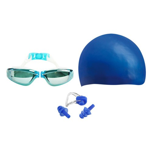Combo kính bơi mũ bơi bịt tai kẹp mũi popo sport set2360 skyblue xanh da trời