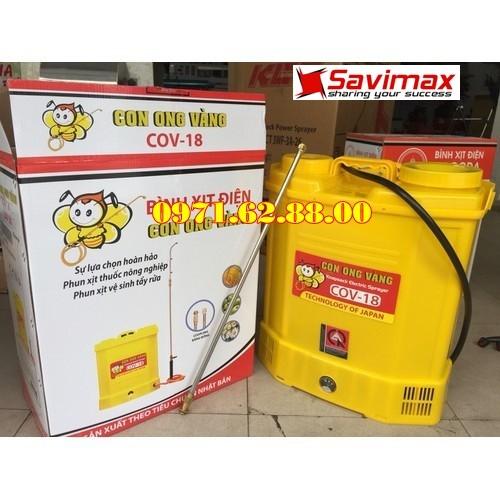 Bình xịt điện con ong vàng cov18, máy phun thuốc chính hãng bảo hành 12 tháng