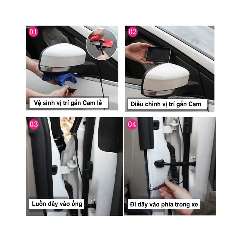 Bộ Camera 360 ô tô quan sát 4 hướng quanh xe 4 cam trước, sau, trái, phải, Màn hình 4,5 inch Camera cập lề ô tô không cần khoan gương – Labaha – cam002