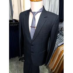 Bộ vest nam trung niên tông xám chất vải cao cấp dày mịn -áo vest+quần+cà vạt+kẹp cà vạt-