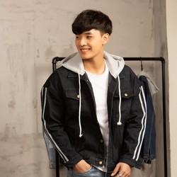 Áo khoác jeans nam đen có mũ đẹp siêu bền Hàn Quốc A453 MuiDoi