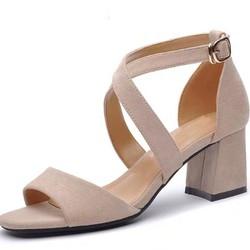 Giày Sandal Đế Vuông 7p 2 dây chéo