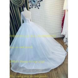 áo cưới ko đuôi trắng tay dai ren giá mềm