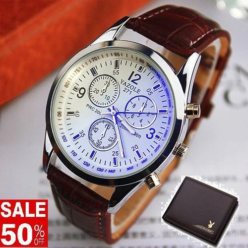 Đồng hồ nam cao cấp yazole tặng kèm ví da nam