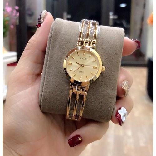 Đồng hồ nữ halei máy nhật dây kim loại mặt tròn