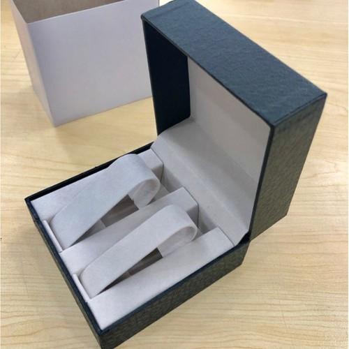 Hộp đồng hồ đôi nắp gập bọc da billux 10 x 10 x 6cm đen hdhmt004