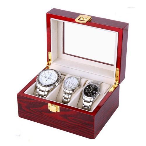 Hộp đựng đồng hồ bằng gỗ 3 ngăn gối bọc nhung cao cấp
