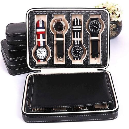 Hộp đồng hồ du lịch màu đen 8 ngăn dạng ví