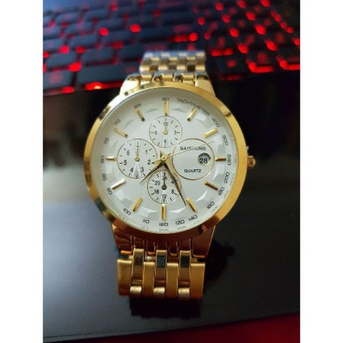 Big sale đồng hồ nam baishuns khung thép mặt trắng dây xích cao cấp