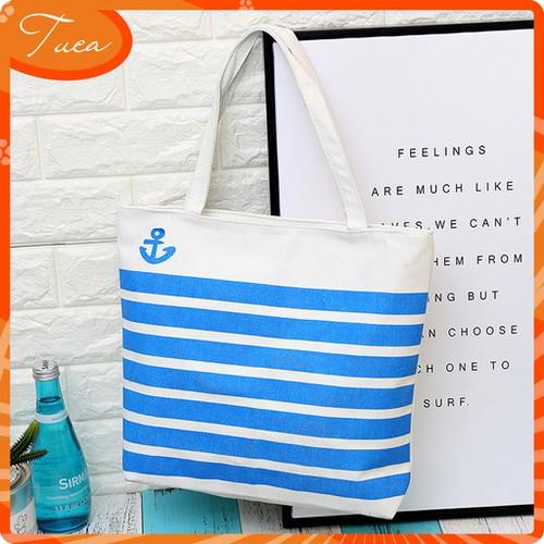 Túi vải canvas in họa tiết sọc xanh tct024 d