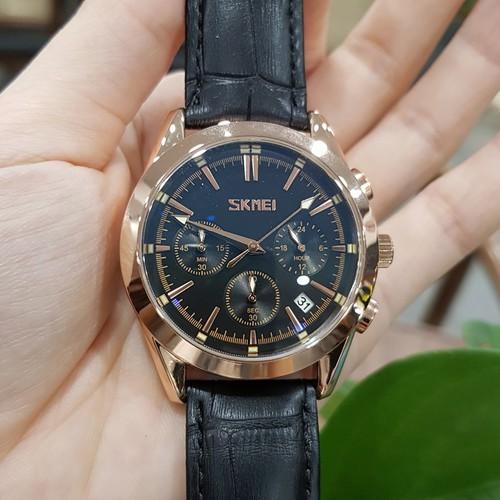 Đồng hồ nam skmei dây da chạy full 6 kim phong cách nam tính lịch lãm