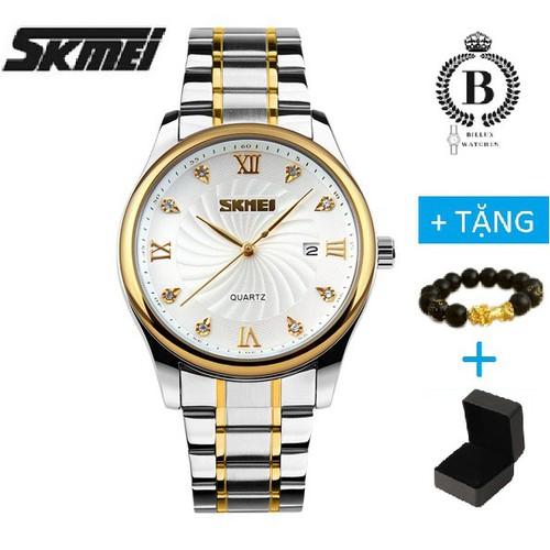 Đồng hồ nam skmei 9101 billux dây kim loại 39mm trắng đen skmmt005