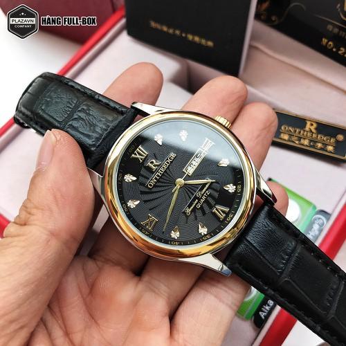 Đồng hồ nam chính hãng ontheedge dây da cao cấp kiểu dáng sang trọng có lịch ngày