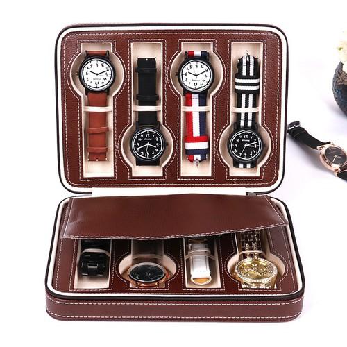 Hộp đồng hồ du lịch bằng da 8 ngăn cao cấp chính hãng