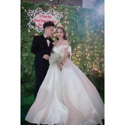 áo cưới tay dài sang trọng luxury trắng tinh khôi